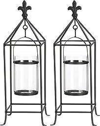 2 Fleur De Lis Framed Candle Holder Stand Centerpieces 19\