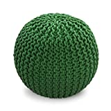 Green Knitted Pouffe Footstool - 100% Cotton