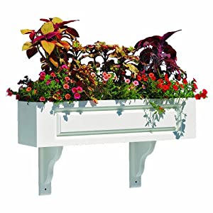 Lazy Hill Farm Designs 999152 Hampton Window Box White Solid Cellular Vinyl with 2Mounting Brackets, 42-Inch by 5-1/2-Inch by 7-1/4-Inch