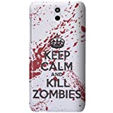 HTC Desire 610 Case - White / Red Hard Plastic (PC) Cover with Funny Keep Calm and Kill Zombies Design