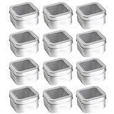 12 empty metal spice/tea/rub tins, square, with lids