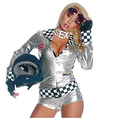 .com: 3pc Sexy Fast And Foxy Biker Chick Halloween Costume: Clothing