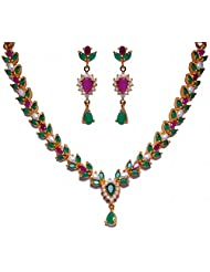 Beautiful Handcrafted Necklace Set Studded With Pearl Ruby & Emerald Color Stone