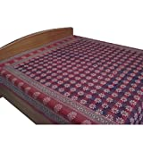 Rustic Red Bed Sheet Cotton Block Printed from Indiaby DakshCraft