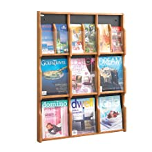 Safco Products Expose 9 Magazine 18 Pamphlet Display, Medium Oak/Black, 5702MO