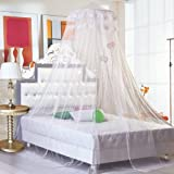 Housweety New Round Lace Curtain Dome Bed Canopy Netting Princess Mosquito Net (White)