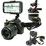 """ChargerCity Exclusive DSLR Smartphone Hot Shoe Flash Camera Mount for Samsung Galaxy Note 5 4 S5 S6 EDGE Apple iphone 6s 6 Plus HTC ONE Sony Xperia MOTO X Motorola Droid Turbo Google Nexus 4 5 LG G3 G4 Multi Angel Swivel Adjustment Video recording 1/4""""-20 tripod Adapter & Easy-Adjust Smartphone Holder *Use Both DSLR Camera & record w/phone simultaneously*"""