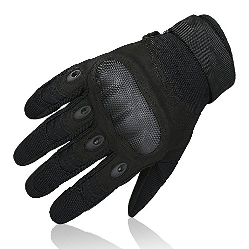 OMGAI Upgraded Men's Full Finger Tech Touch Gloves Motorcycle Hard Knuckle Gloves for Airsoft Tactical Hiking Camping Outdoor Sports with Velcro Black, L