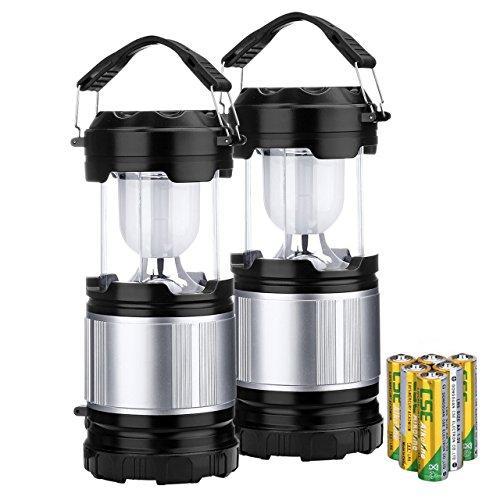 Linterna Camping y Lámpara LED Portables, Topop Luz 2 en 1 Multifuncional con 6 Pcs Baterías(AA) para Camping, Pesca, Luz de Emergencia, Exterior, Interior, Aire Libre, 2 Dispositivos.