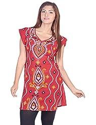 Aabarani Women's Hand Work Semi Stitched Cotton Kurta (ABKU011,Red)