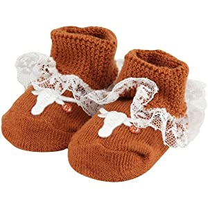 NCAA Texas Longhorns Infant Girls Lace Gift Box Booties - Burnt Orange