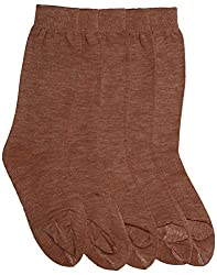Mikado Fawn Colour Woolen Thumb Socks for Women - 5 Pair Pack