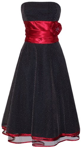 50's Black Red Strapless Rockabilly Polkadot Prom Dress Holiday Formal Gown, XS