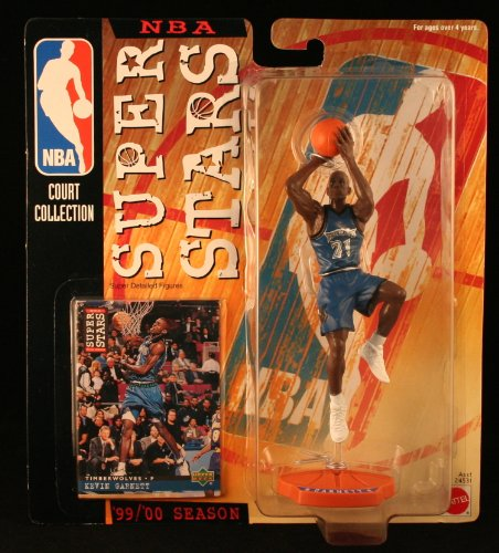 KEVIN GARNETT / MINNESOTA TIMBERWOLVES * 99/00 Season * NBA SUPER STARS Super Detailed Figure, Display Base & Exclusive Upper Deck Collector Trading Card