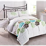 Cozy Beddings Allium 3-Piece Reversible Down Alternative Floral Comforter Set, Queen, White/Coffee/Blue/Grey/Green/Sage