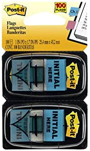 """Post-it  Message Flags, """"Initial Here"""", Blue, 1-Inch Wide, 50/Dispenser, 2-Dispensers/Pack"""