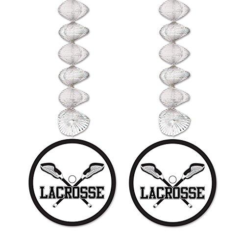 Beistle Lacrosse Danglers, 30-Inch, Silver/Black/White