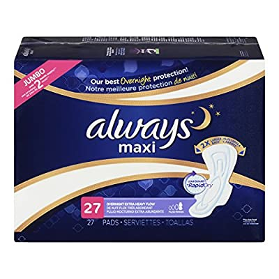 Always Maxi Pads Overnight Extra Heavy with Flexi-Wings Unscented, 27 Count
