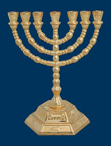 Menorah - Seven Branch Menorah, Gold Plated 7 Branch Candle Holder
