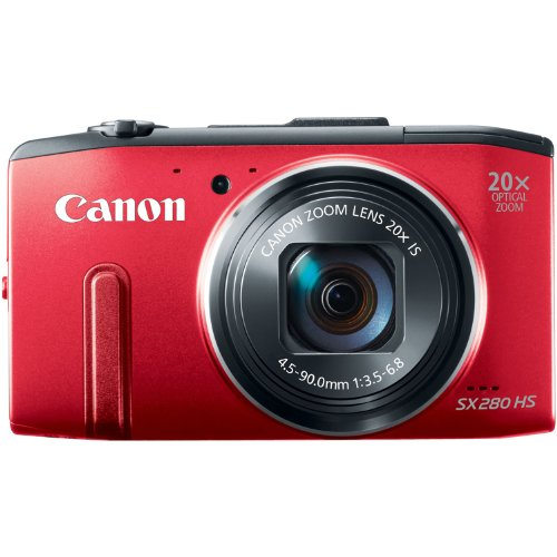 Canon PowerShot SX280 12MP Digital Camera with 20x Optical Image Stabilized Zoom with 3-Inch LCD (Red)