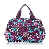 Women Nylon Flower Handbags Casual Mom Bags Shoulder Bags Crossbody Bag (Purple)