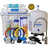 iSpring RCC7 - WQA GOLD SEAL - 5 Stages 75GPD Reverse Osmosis Water Filter System featuring Brushed Nickel EU Faucet ($45 value) and Clear See-through 1st Stage