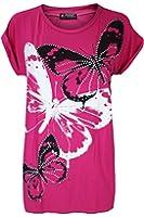 Womens Ladies 3 Butterflies Studded Glitter Dimantes Print Baggy Oversized Turn Up Cap Sleeve Tee T Shirt Top