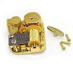DIY 18 Note Gold Plated Windup Musical Mechanism Music Box Movement Key Screws Jingle Bells