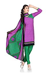 Vibes Womens Crepe Patch Work Straight Dress Material (V285-1003 _Purple _Free Size)