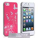 Yousave Accessories Floral Butterfly Hard Case for iPhone 5/5S - Hot Pink/Silverby Yousave Accessories