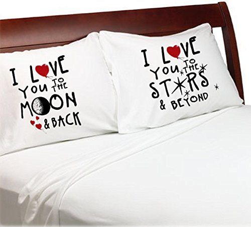 I Love You to the Moon and Back Stars and Beyond Set of 2 (Standard White) Bedroom Couples Pillowcases