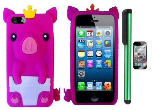 #>>  Hot Pink Cute Pig Yellow Crown Silicone Skin Premium Design Protector Soft Cover Case Compatible for Apple Iphone 5 (AT&T, VERIZON, SPRINT) + Screen Protector Film + Combination 1 of New Metal Stylus Touch Screen Pen (4