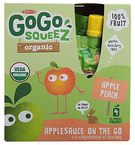 GoGo SqueeZ Organic Apple Sauce - Apple Peach - 3.2 oz - 4 pk - 1