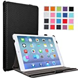 MoKo Apple iPad Air Case – Slim-Fit Case with Stand for iPad 5 Air (5th Gen) Tablet, Carbon Fiber BLACK (With Smart Cover Auto Wake / Sleep)