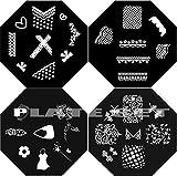 Nail Art Polish Stamp Stamping Manicure Image Plates Set Kit 4 pc - Lace, Bubbles, Flowers, Bows