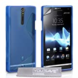 Yousave Accessories TM Blue S-Line Silicone Gel Grip Series Case Cover For The Sony Ericsson Xperia S With Screen Protector Filmby Yousave Accessories
