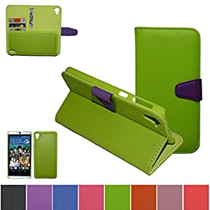 HTC Desire 826 Case,Mama Mouth [DETACHABLE Feature] Folio Flip Hard Case [Stand View] Premium PU Leather [Wallet Case] With Built-in Media Stand ID Credit Card / Cash Slots and Inner Pocket Cover For HTC Desire 826, Green
