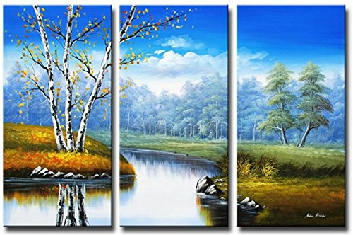 Sangu Gift 100% Hand Painted Hot Selling Oil Paintings Rivers Forest Natural Landscape Wood Framed 3-piece Wall Art for Home Decoration(14x28Inchx3)