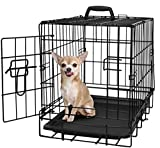 "OxGord 20"" Small Dog Crate, Single-Door Folding Metal w/ Tray 