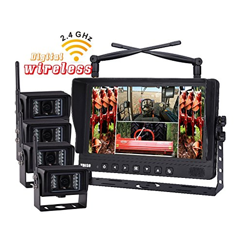 9-Inch Digital Wireless Quad Monitor with 4 Wireless Waterproof IR Camera System for Excavator, Cement Truck, Farm Tractor, Trailer, 5th Wheel, Rv Camper, Heavy Truck