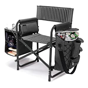 Picnic Time Fusion Folding Chair, Gray with Black Frame
