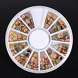 3D Multi-color Pearl Rhinestone Metal Nail Art Decoration Wheel - Multi Color