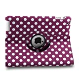 TOPCHANCES Auto Sleep/Wake Function 360 Degree Rotating Smart Case Cover for 7.9 inch Apple iPad Mini/iPad Mini 2 with Retina with a Stylus as a Gift--Polka Dot Pattern,Purple