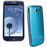 xubix Full Metal Akkudeckel für Samsung i9300 Galaxy S3 Hellblau Light Blue brushed Metall Aluminium mit dezent weißem Rand