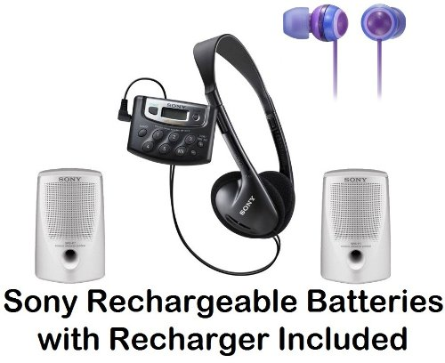 Sony Walkman Digital Tuning Palm Size AM/FM Stereo Radio with Weather Band, 20 Station Preset Memory, DX Switch for Exceptional Reception, Belt Clip, Over the Head Stereo Headphones, Deep Violet Fashion Earbud Headphones & Passive Lightweight Portable Spe