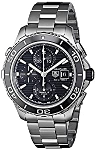 Aquaracer Chronograph Automatic Stainless Steel Case and Bracelet Black Tone Dial Date Display