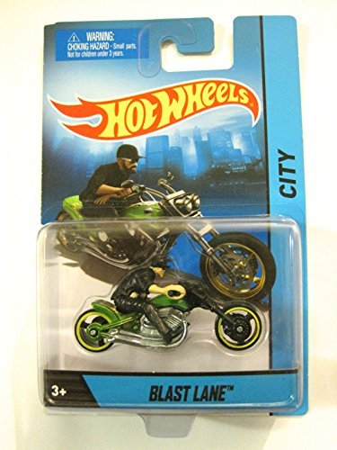 2014 Hot Wheels Hw City Blast Lane Motorcycle with Rider Green Die-cast Collectible, Chopper Motorcycle