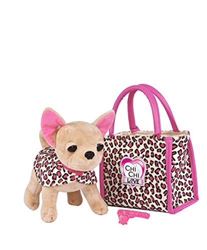 Simba 105892281 - Chi Chi Love Plüschhund 20cm mit Tasche im Leo Look