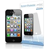 iPhone 4S Screen Protector, amFilm Apple iPhone 4S/4 Screen Protector Premium HD Clear (3-Pack)(3 Bonus Back Films Included)[Lifetime Warranty]