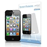 amFilm (TM) Premium Screen Protector Film Clear (Invisible) for Apple iphone 4S (3 Pack + 3 Bonus Back Films)